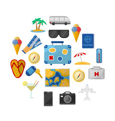 Travel icons round composition vector