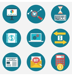 Set of business and management icons vector