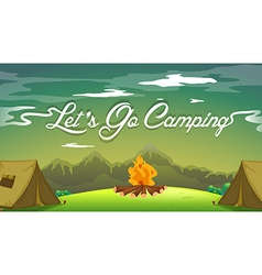 A poster showing a campsite vector image