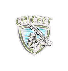 Cricket player batsman batting shield etching vector