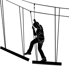 Children in adventure park rope ladder vector