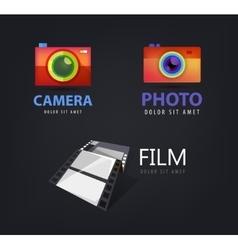 Set of camera logos film icon vector