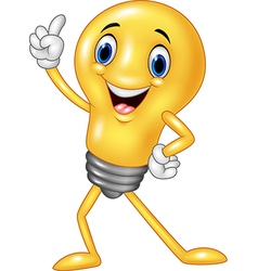 Cartoon funny light bulb pointing his finger vector