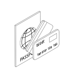 Passport and bank cards icon isometric 3d style vector