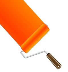 Orange paint roller background vector