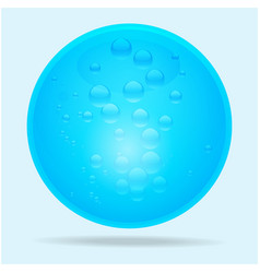 Blue glass sphere and water bubbles vector image