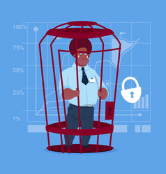 African american business man in cage prisoner vector