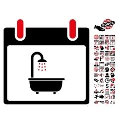 Bath calendar day flat icon with bonus vector