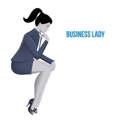 Business lady sitting thinking template vector