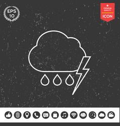 cloud thunderstorm lightning rain line icon vector image vector image