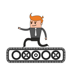 Color image cartoon business man riding an belt vector