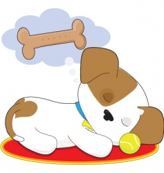 cute puppy dreaming vector image vector image