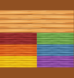 different colors of wooden walls vector image