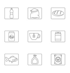 Eating icons set outline style vector