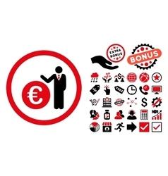 Euro Economist Flat Icon with Bonus vector image vector image