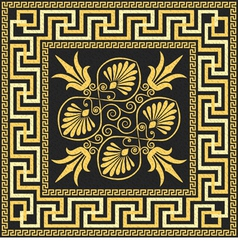 Golden square greek ornament meander vector