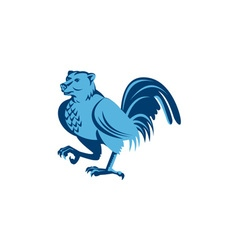 Half bear half chicken hybrid marching retro vector