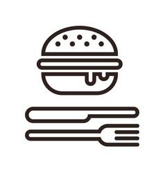 Hamburger fork and knife vector