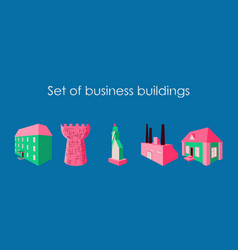 isolated city buildings icon set different vector image