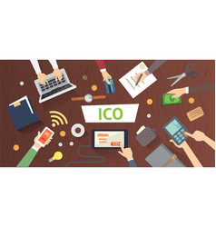 It startup crowdfunding blockchain ico vector