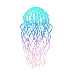 Jellyfish in line art style ocean elements vector
