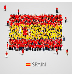 Large group of people in the spain flag shape vector