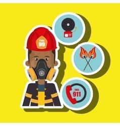 Man firefighter call 911 alarm vector