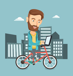 Man riding bicycle in the city vector
