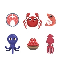 Market sold seafood set vector