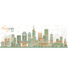nanjing china skyline with color buildings vector image vector image