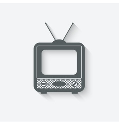 old television icon vector image vector image