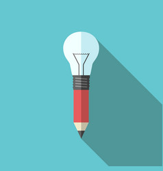 pencil-lightbulb flat style vector image vector image