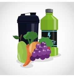 Protein supplement and fruits design vector