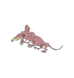 Rat Creepy Zombie Outlined Drawing vector image