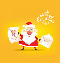 santa claus receive a letter of wishes vector image vector image