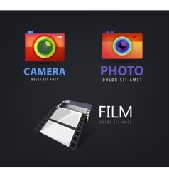 Set of camera logos film icon vector