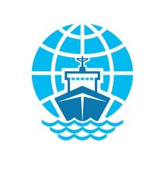 Ship and globe logo sign vector