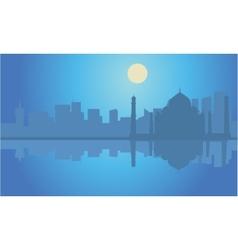 Silhouette taj mahal india at night vector