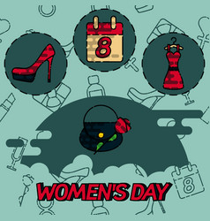 Women day flat concept icons vector