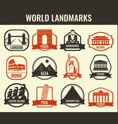 World landmarks flat icon set travel and tourism vector