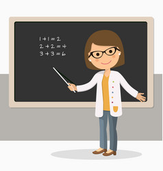 Young female teacher on math lesson at blackboard vector