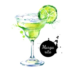 Hand drawn sketch watercolor cocktail margarita vector