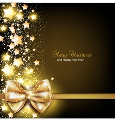 Elegant Christmas background with golden bow vector image
