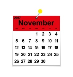 Leaf calendar 2017 with the month of November vector image