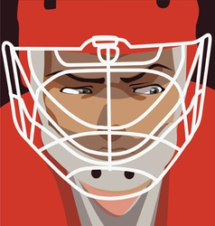 Ice hockey player red helmet portret vector