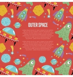 Outer space cartoon web page template vector