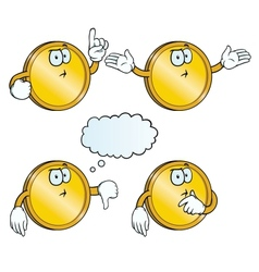 Thinking golden coin set vector image