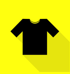 T-shirt sign  black icon with flat vector