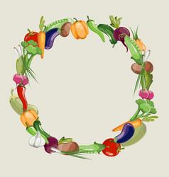 Vegetables raw food blank frame vector