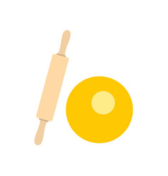 dough and rolling pin icon flat style vector image